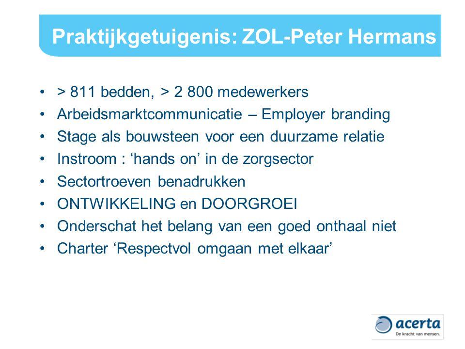 Praktijkgetuigenis: ZOL-Peter Hermans > 811 bedden, > 2 800 medewerkers Arbeidsmarktcommunicatie – Employer branding Stage als bouwsteen voor een duurzame relatie Instroom : 'hands on' in de zorgsector Sectortroeven benadrukken ONTWIKKELING en DOORGROEI Onderschat het belang van een goed onthaal niet Charter 'Respectvol omgaan met elkaar'