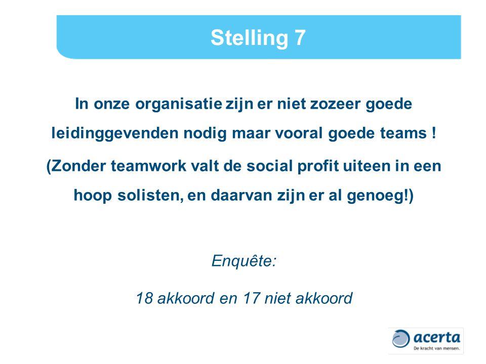 Stelling 7 In onze organisatie zijn er niet zozeer goede leidinggevenden nodig maar vooral goede teams .