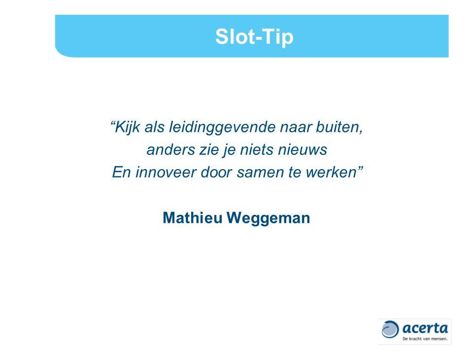 Slot-Tip Kijk als leidinggevende naar buiten, anders zie je niets nieuws En innoveer door samen te werken Mathieu Weggeman