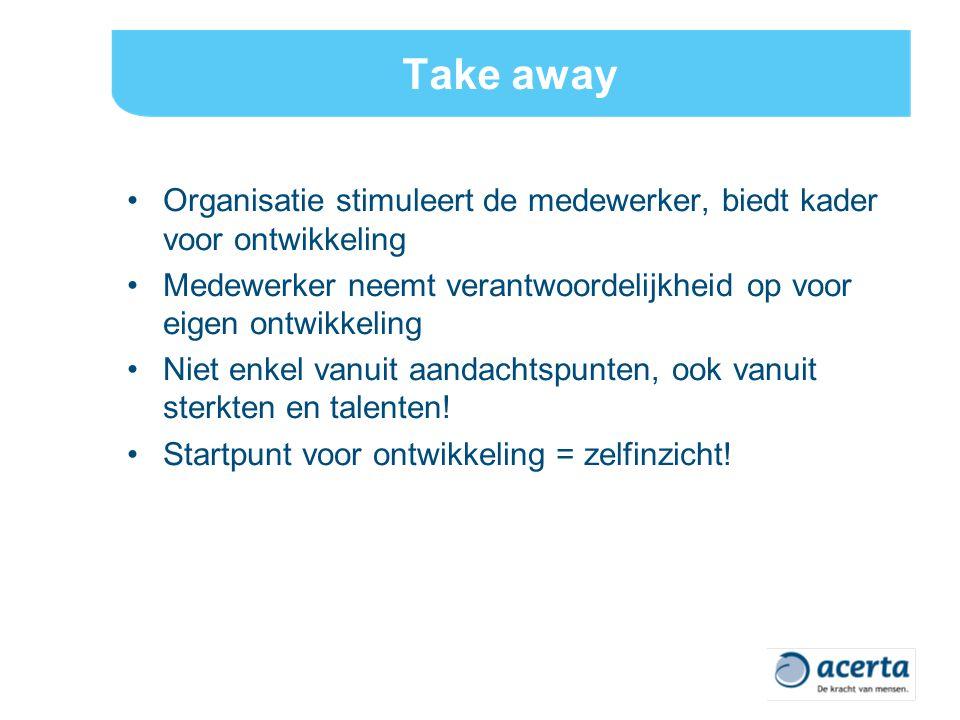Take away Organisatie stimuleert de medewerker, biedt kader voor ontwikkeling Medewerker neemt verantwoordelijkheid op voor eigen ontwikkeling Niet enkel vanuit aandachtspunten, ook vanuit sterkten en talenten.