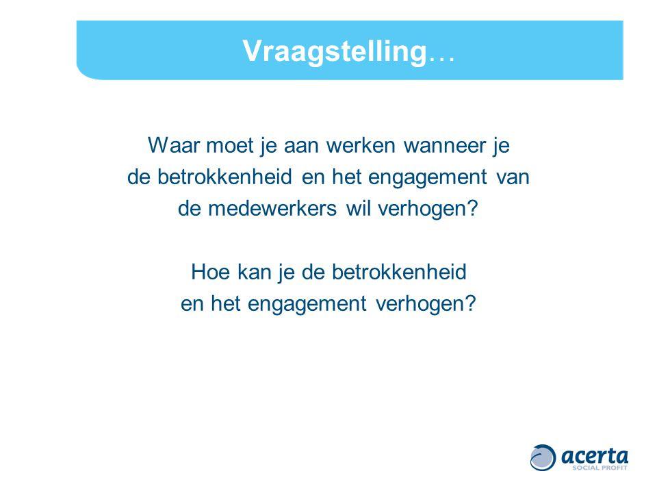 Vraagstelling… Waar moet je aan werken wanneer je de betrokkenheid en het engagement van de medewerkers wil verhogen.