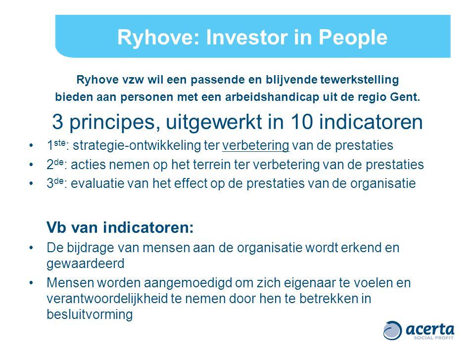 Ryhove: Investor in People Ryhove vzw wil een passende en blijvende tewerkstelling bieden aan personen met een arbeidshandicap uit de regio Gent.