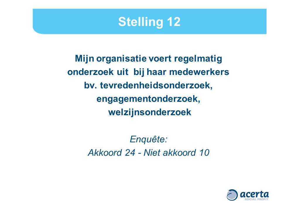 Stelling 12 Mijn organisatie voert regelmatig onderzoek uit bij haar medewerkers bv.