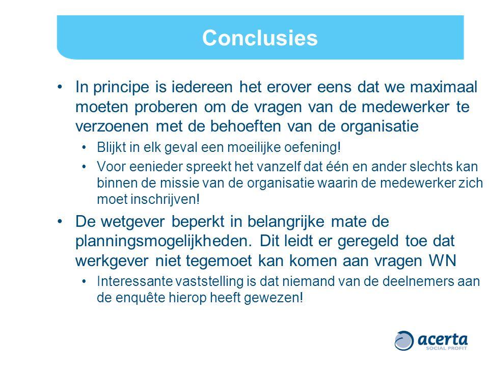 Conclusies In principe is iedereen het erover eens dat we maximaal moeten proberen om de vragen van de medewerker te verzoenen met de behoeften van de organisatie Blijkt in elk geval een moeilijke oefening.