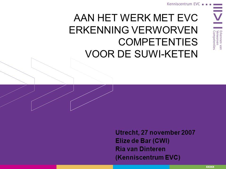 XXXXX AAN HET WERK MET EVC ERKENNING VERWORVEN COMPETENTIES VOOR DE SUWI-KETEN Utrecht, 27 november 2007 Elize de Bar (CWI) Ria van Dinteren (Kenniscentrum EVC)