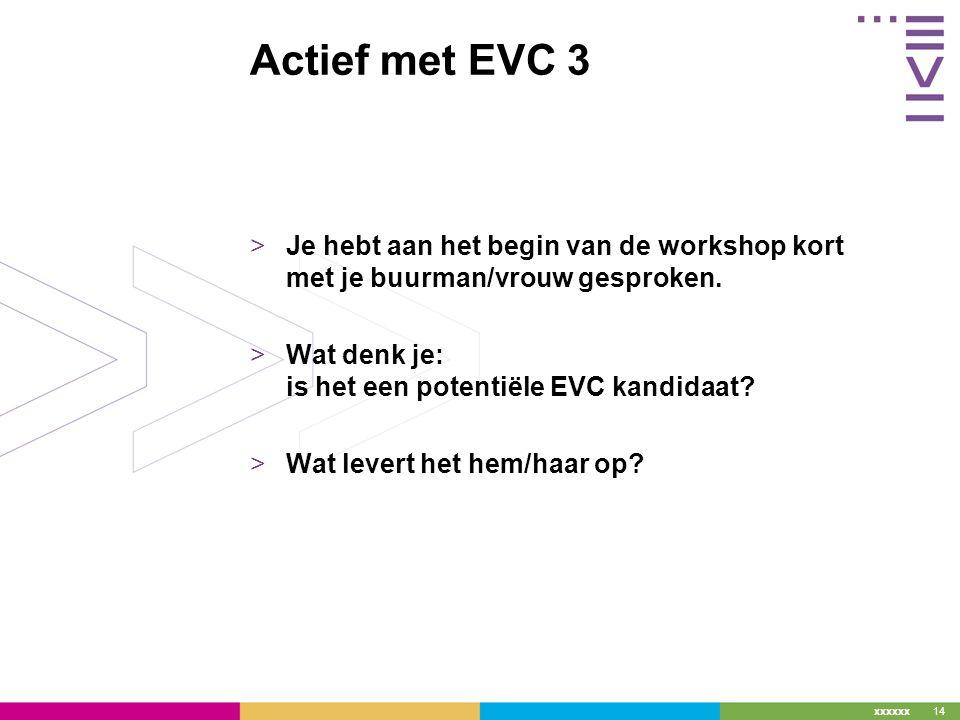 xxxxxx Actief met EVC 3 >Je hebt aan het begin van de workshop kort met je buurman/vrouw gesproken.