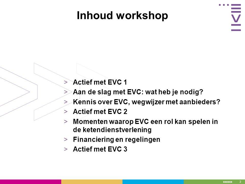 xxxxxx 2 Inhoud workshop >Actief met EVC 1 >Aan de slag met EVC: wat heb je nodig.