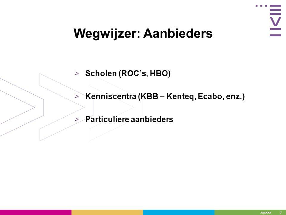 xxxxxx 8 Wegwijzer: Aanbieders >Scholen (ROC's, HBO) >Kenniscentra (KBB – Kenteq, Ecabo, enz.) >Particuliere aanbieders