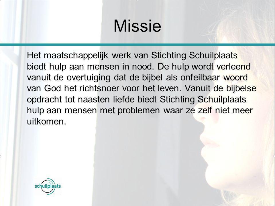 Missie Het maatschappelijk werk van Stichting Schuilplaats biedt hulp aan mensen in nood. De hulp wordt verleend vanuit de overtuiging dat de bijbel a