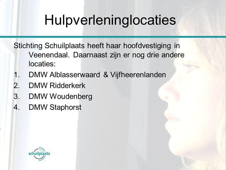 Stichting Schuilplaats heeft haar hoofdvestiging in Veenendaal. Daarnaast zijn er nog drie andere locaties: 1.DMW Alblasserwaard & Vijfheerenlanden 2.