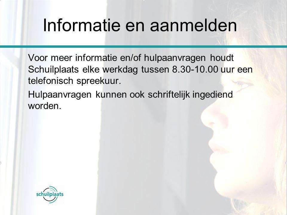 Voor meer informatie en/of hulpaanvragen houdt Schuilplaats elke werkdag tussen 8.30-10.00 uur een telefonisch spreekuur. Hulpaanvragen kunnen ook sch