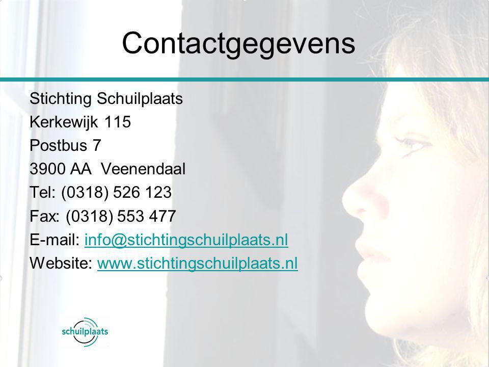 Stichting Schuilplaats Kerkewijk 115 Postbus 7 3900 AA Veenendaal Tel: (0318) 526 123 Fax: (0318) 553 477 E-mail: info@stichtingschuilplaats.nlinfo@st