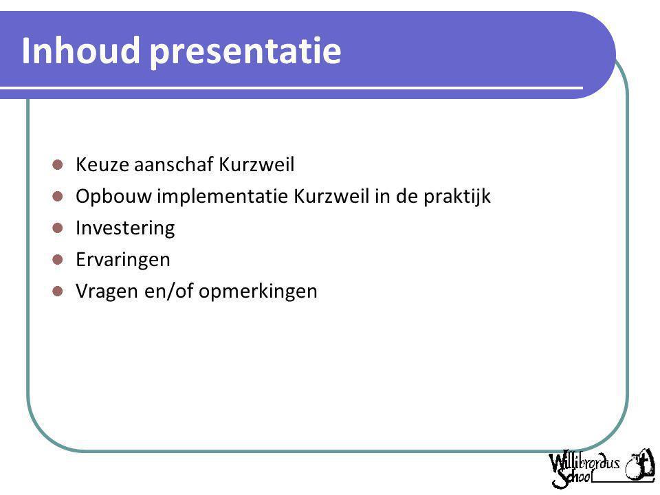 Inhoud presentatie Keuze aanschaf Kurzweil Opbouw implementatie Kurzweil in de praktijk Investering Ervaringen Vragen en/of opmerkingen