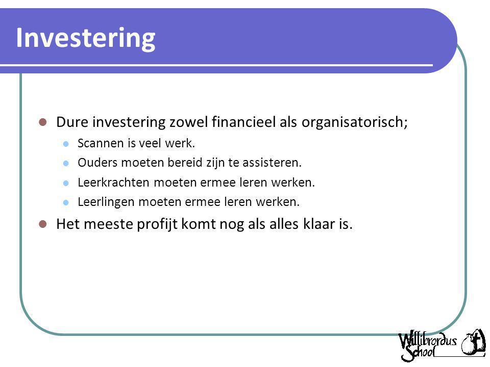 Investering Dure investering zowel financieel als organisatorisch; Scannen is veel werk. Ouders moeten bereid zijn te assisteren. Leerkrachten moeten