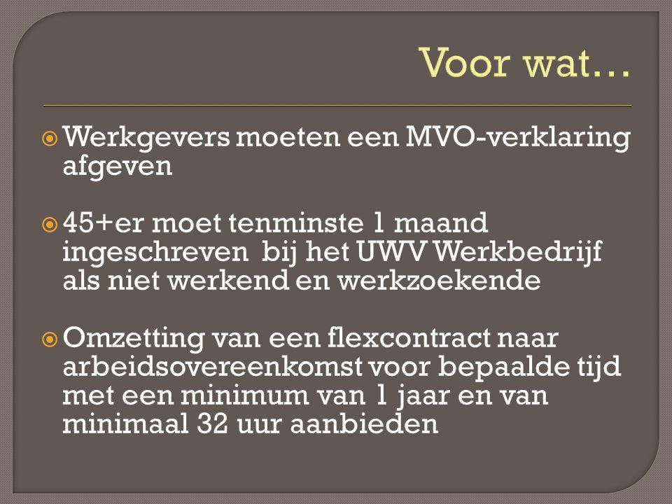 Voor wat…  Werkgevers moeten een MVO-verklaring afgeven  45+er moet tenminste 1 maand ingeschreven bij het UWV Werkbedrijf als niet werkend en werkz
