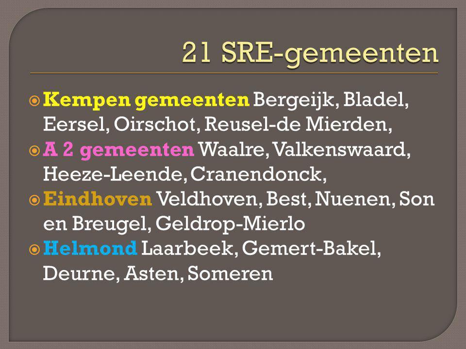  Kempen gemeenten Bergeijk, Bladel, Eersel, Oirschot, Reusel-de Mierden,  A 2 gemeenten Waalre, Valkenswaard, Heeze-Leende, Cranendonck,  Eindhoven