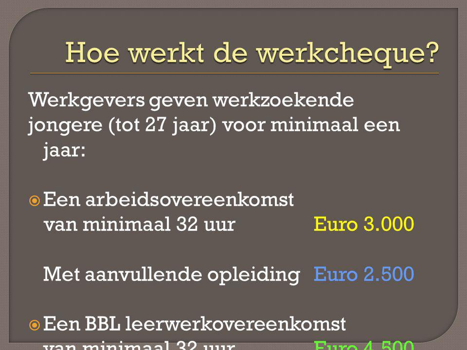 Werkgevers geven werkzoekende jongere (tot 27 jaar) voor minimaal een jaar:  Een arbeidsovereenkomst van minimaal 32 uur Euro 3.000 Met aanvullende o