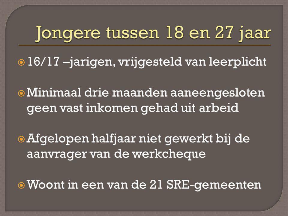  16/17 –jarigen, vrijgesteld van leerplicht  Minimaal drie maanden aaneengesloten geen vast inkomen gehad uit arbeid  Afgelopen halfjaar niet gewer