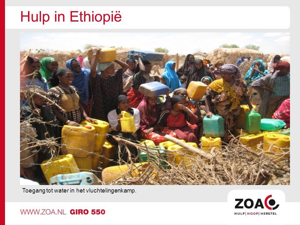 Hulp in Ethiopië Toegang tot water in het vluchtelingenkamp.