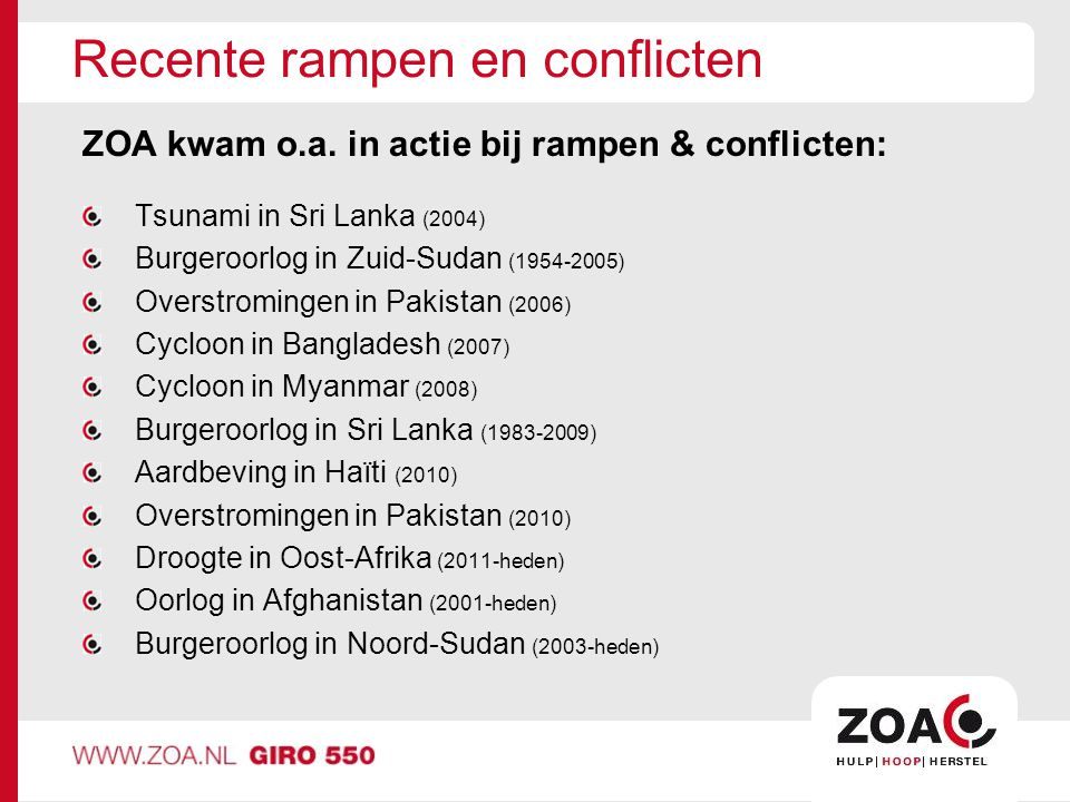 Recente rampen en conflicten ZOA kwam o.a.