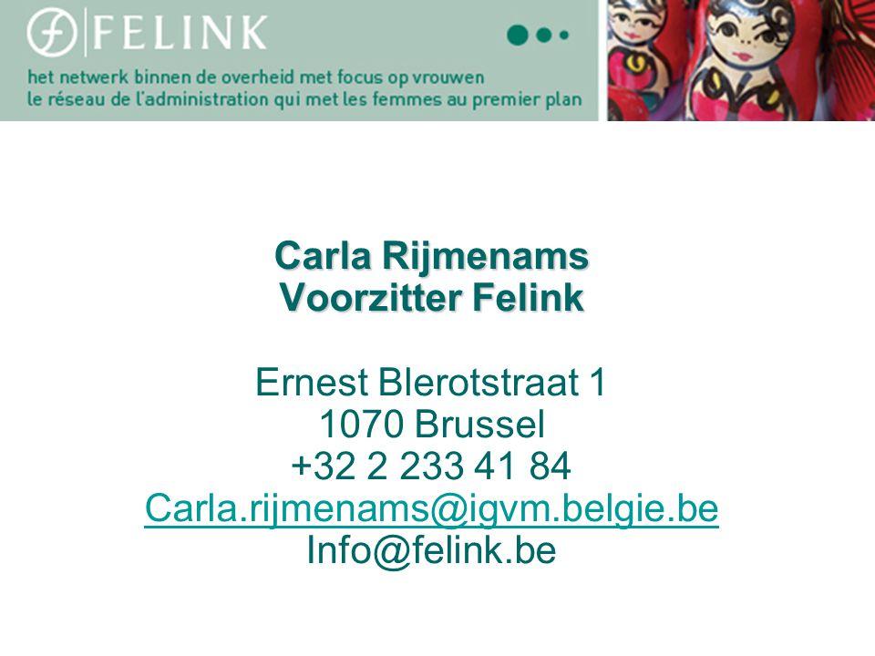 (Titel) (titre) Carla Rijmenams Voorzitter Felink Ernest Blerotstraat 1 1070 Brussel +32 2 233 41 84 Carla.rijmenams@igvm.belgie.be Info@felink.be