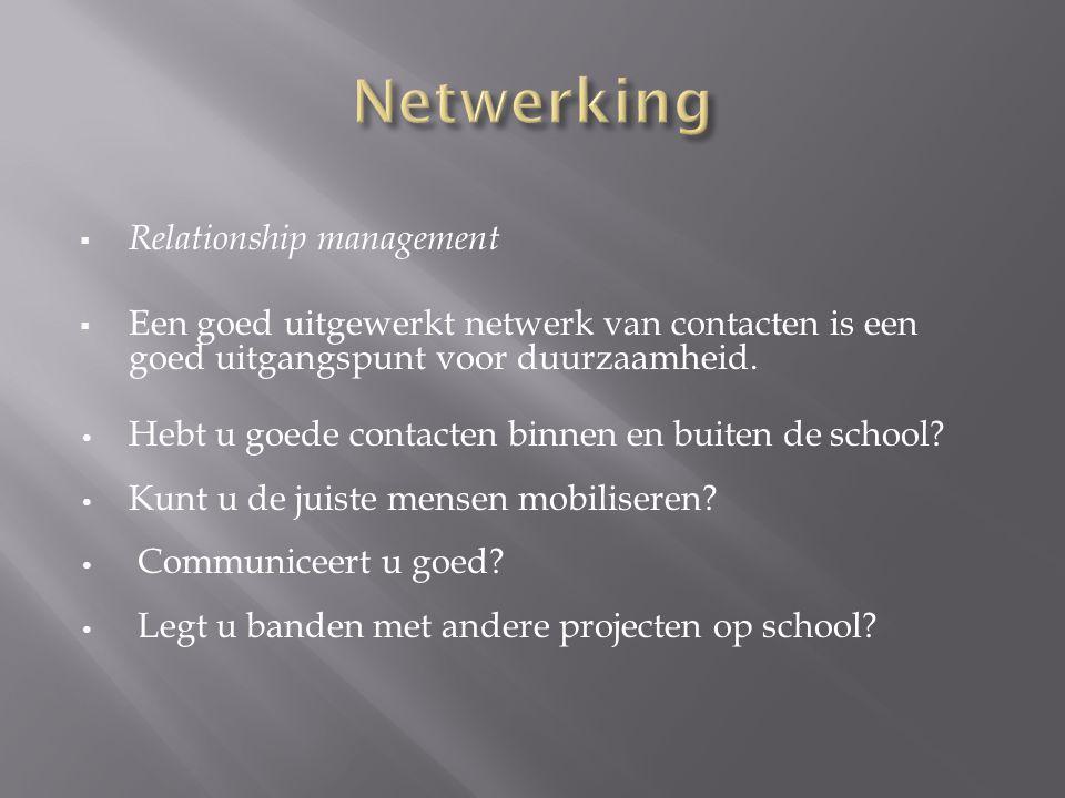  Relationship management  Een goed uitgewerkt netwerk van contacten is een goed uitgangspunt voor duurzaamheid. Hebt u goede contacten binnen en bui