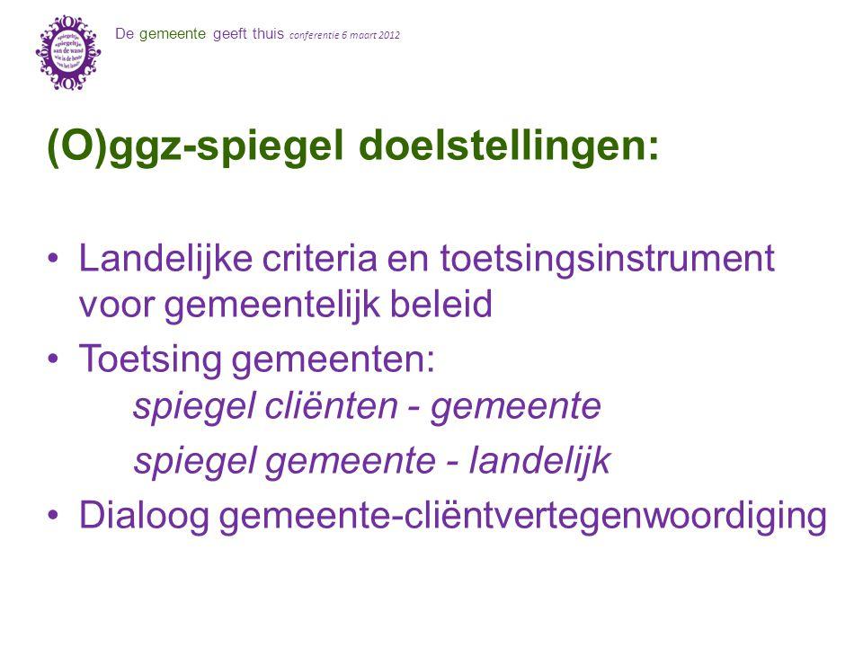 De gemeente geeft thuis conferentie 6 maart 2012 (O)ggz-spiegel doelstellingen: Landelijke criteria en toetsingsinstrument voor gemeentelijk beleid To