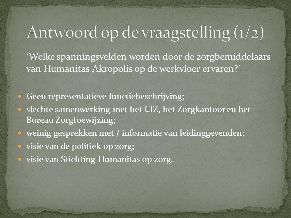 'Welke spanningsvelden worden door de zorgbemiddelaars van Humanitas Akropolis op de werkvloer ervaren?' Geen representatieve functiebeschrijving; sle