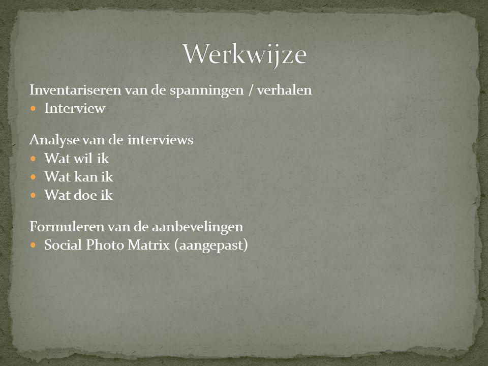 Inventariseren van de spanningen / verhalen Interview Analyse van de interviews Wat wil ik Wat kan ik Wat doe ik Formuleren van de aanbevelingen Socia