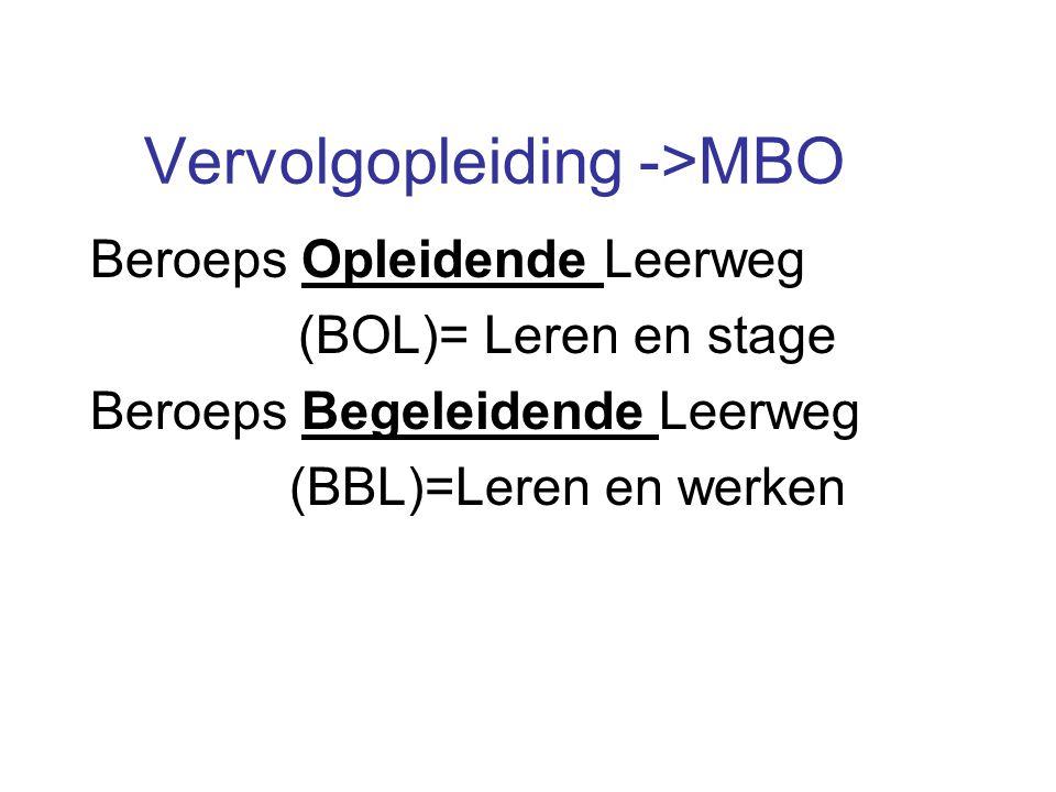 Vervolgopleiding ->MBO Beroeps Opleidende Leerweg (BOL)= Leren en stage Beroeps Begeleidende Leerweg (BBL)=Leren en werken