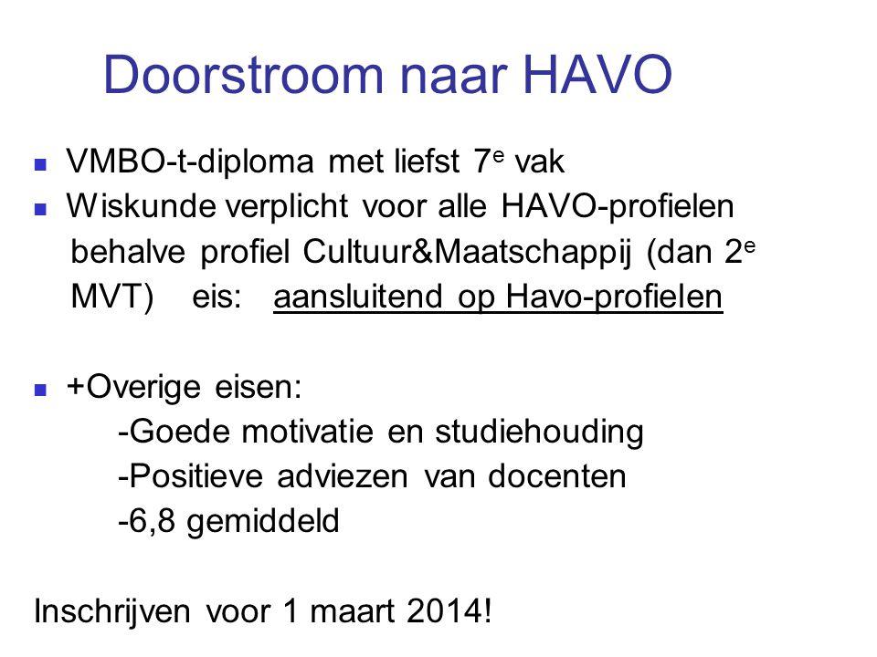 Doorstroom naar HAVO VMBO-t-diploma met liefst 7 e vak Wiskunde verplicht voor alle HAVO-profielen behalve profiel Cultuur&Maatschappij (dan 2 e MVT)