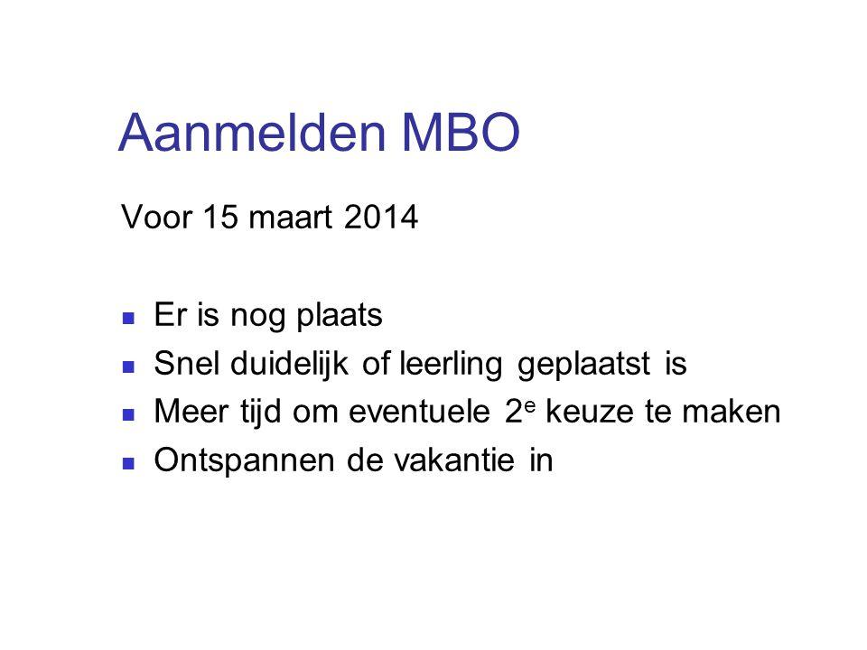 Aanmelden MBO Voor 15 maart 2014 Er is nog plaats Snel duidelijk of leerling geplaatst is Meer tijd om eventuele 2 e keuze te maken Ontspannen de vaka