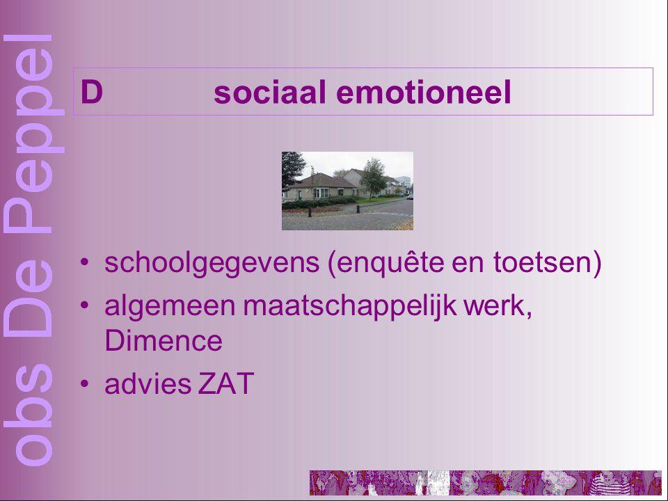 schoolgegevens (enquête en toetsen) algemeen maatschappelijk werk, Dimence advies ZAT Dsociaal emotioneel
