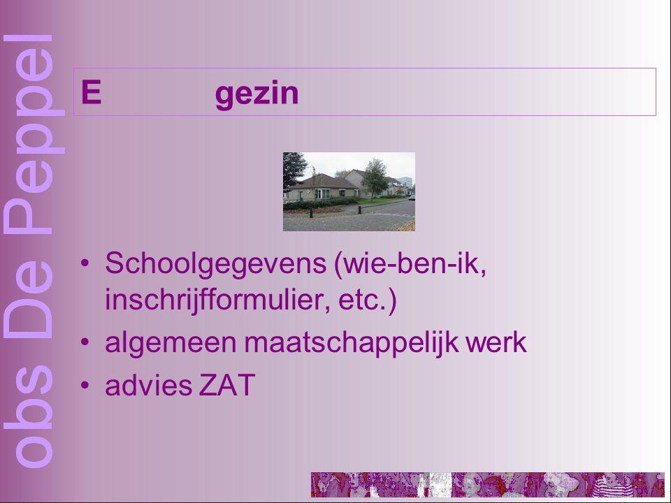 Schoolgegevens (wie-ben-ik, inschrijfformulier, etc.) algemeen maatschappelijk werk advies ZAT Egezin