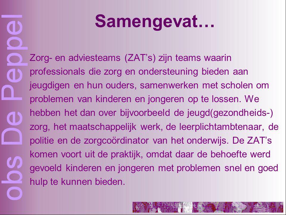 Samengevat… Zorg- en adviesteams (ZAT's) zijn teams waarin professionals die zorg en ondersteuning bieden aan jeugdigen en hun ouders, samenwerken met scholen om problemen van kinderen en jongeren op te lossen.
