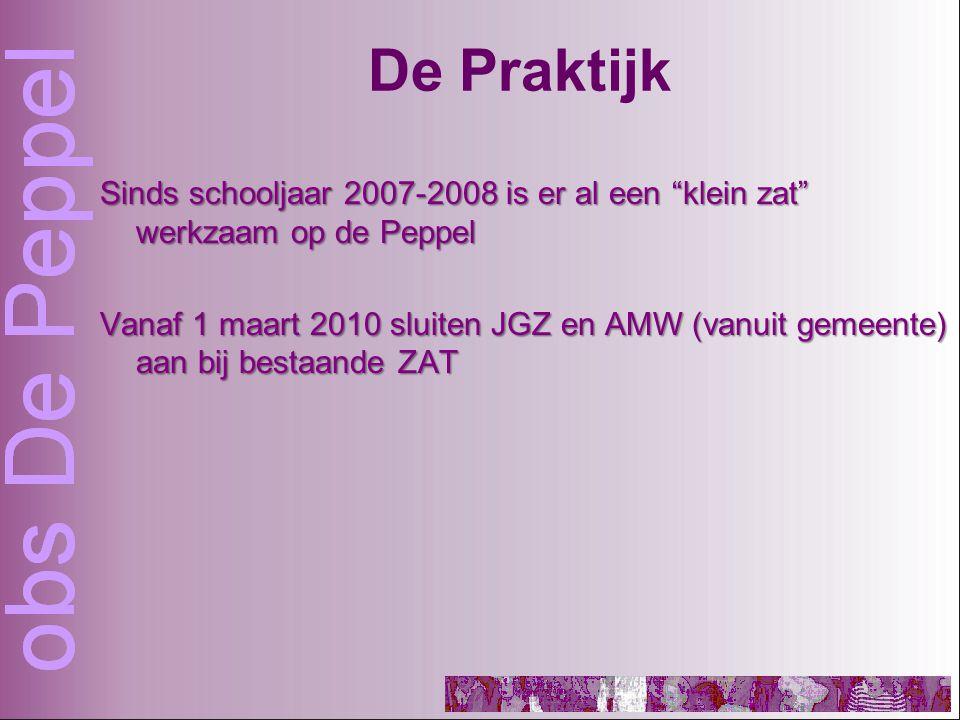 De Praktijk Sinds schooljaar 2007-2008 is er al een klein zat werkzaam op de Peppel Vanaf 1 maart 2010 sluiten JGZ en AMW (vanuit gemeente) aan bij bestaande ZAT