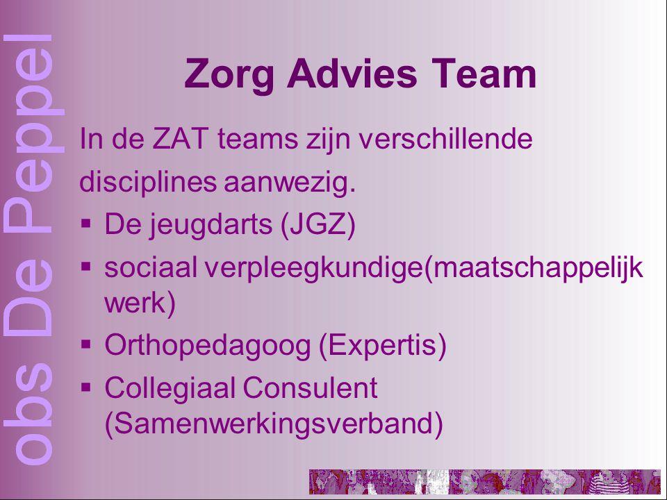 Zorg Advies Team In de ZAT teams zijn verschillende disciplines aanwezig.