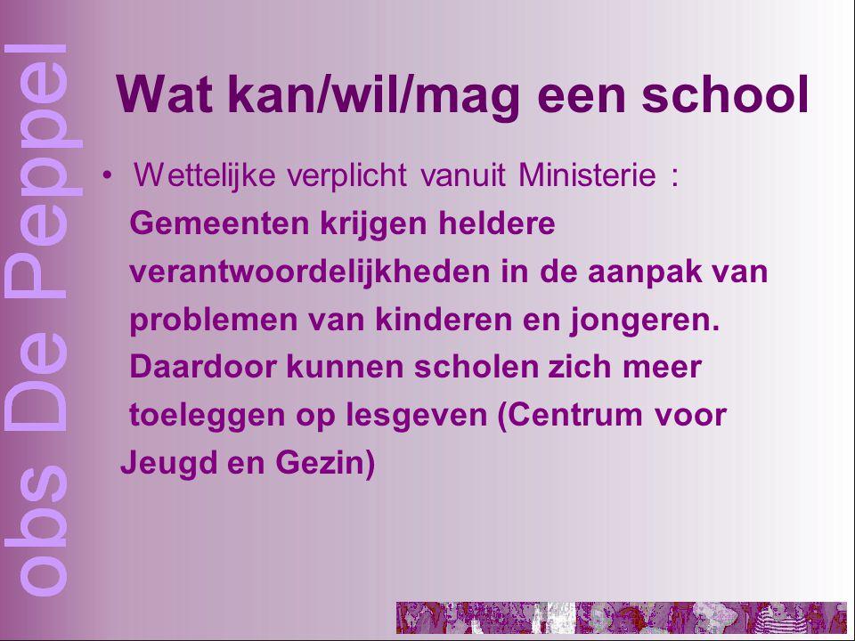 Wat kan/wil/mag een school Wettelijke verplicht vanuit Ministerie : Gemeenten krijgen heldere verantwoordelijkheden in de aanpak van problemen van kinderen en jongeren.
