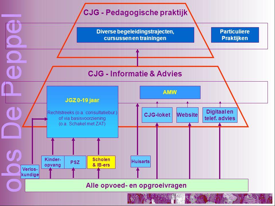 Alle opvoed- en opgroeivragen Huisarts Kinder- opvang PSZ Scholen & IB-ers CJG - Informatie & Advies CJG - Pedagogische praktijk CJG-loketWebsite Digitaal en telef.