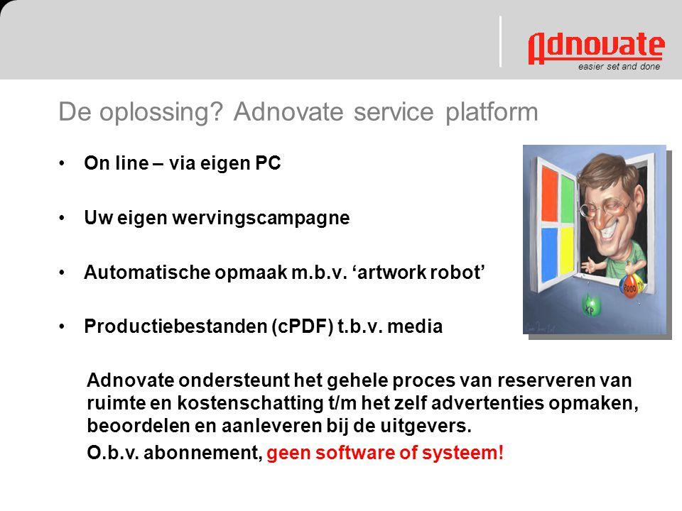 De oplossing? Adnovate service platform On line – via eigen PC Uw eigen wervingscampagne Automatische opmaak m.b.v. 'artwork robot' Productiebestanden