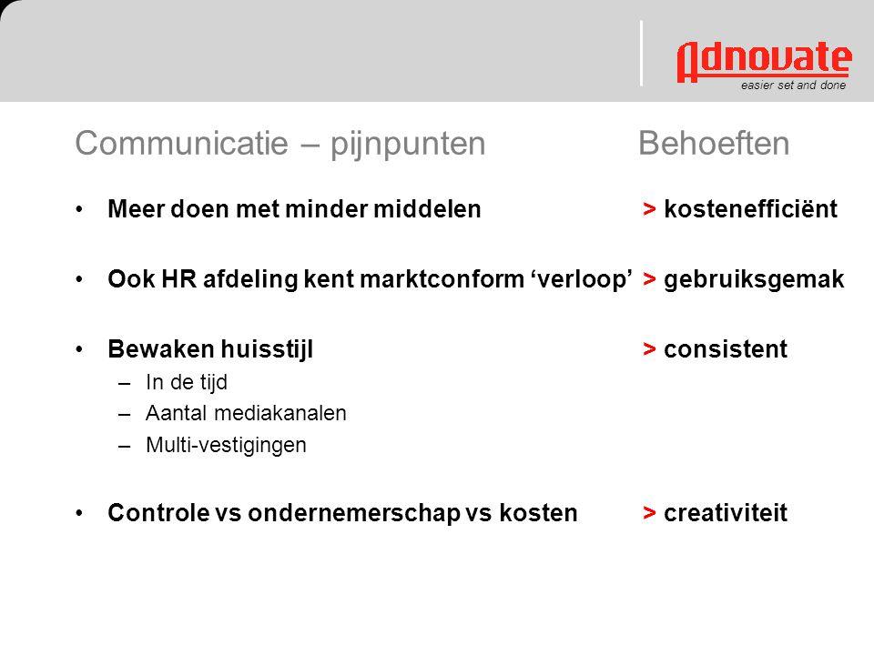 easier set and done Communicatie – pijnpunten Behoeften Meer doen met minder middelen Ook HR afdeling kent marktconform 'verloop' Bewaken huisstijl –I