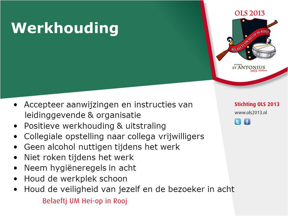Werkhouding Accepteer aanwijzingen en instructies van leidinggevende & organisatie Positieve werkhouding & uitstraling Collegiale opstelling naar coll