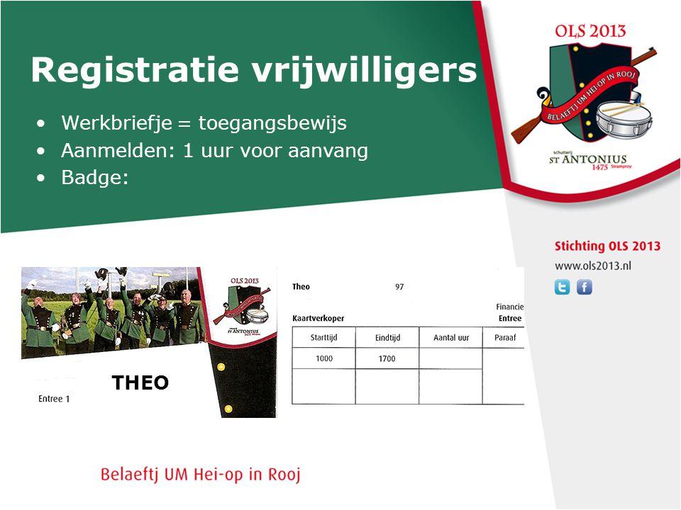 Registratie vrijwilligers Werkbriefje = toegangsbewijs Aanmelden: 1 uur voor aanvang Badge: OLS T-shirt alleen tijdens werk aan Afmelden op terrein in