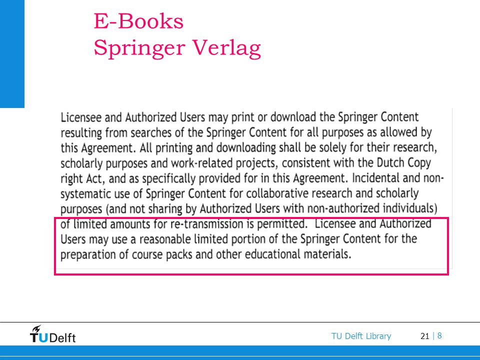 21 TU Delft Library | 8 E-Books Springer Verlag