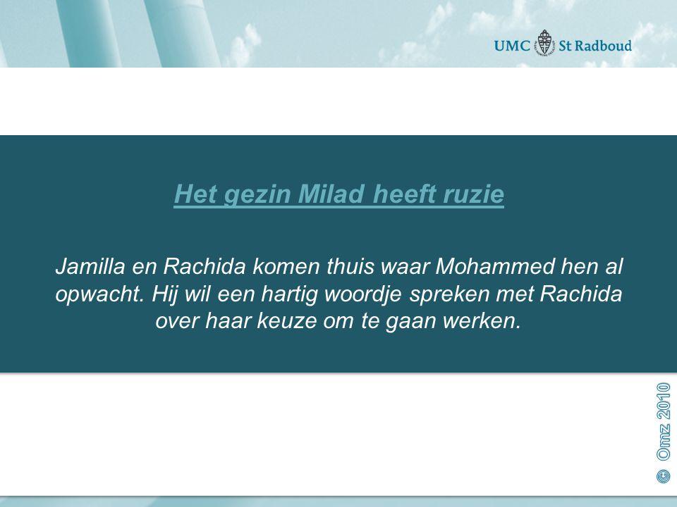 Onderzoekscentrum maatschappelijke zorg gedreven door kennis, bewogen door mensen Het gezin Milad heeft ruzie Jamilla en Rachida komen thuis waar Mohammed hen al opwacht.