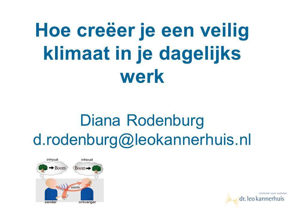 Hoe creëer je een veilig klimaat in je dagelijks werk Diana Rodenburg d.rodenburg@leokannerhuis.nl