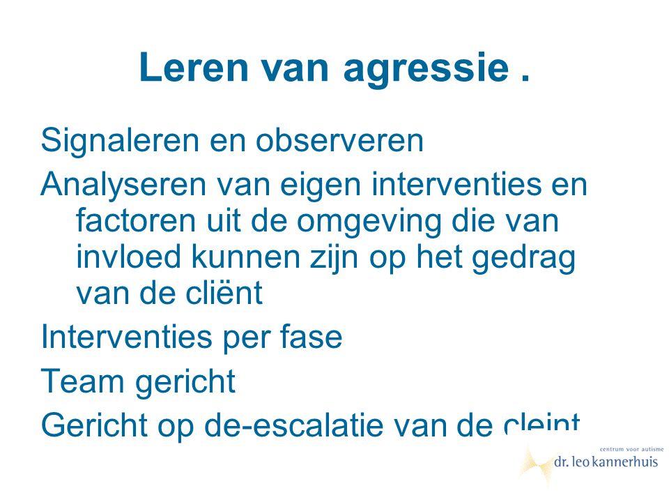 Leren van agressie. Signaleren en observeren Analyseren van eigen interventies en factoren uit de omgeving die van invloed kunnen zijn op het gedrag v