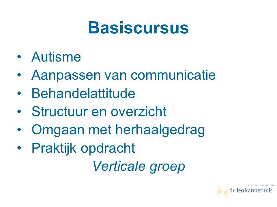 Basiscursus Autisme Aanpassen van communicatie Behandelattitude Structuur en overzicht Omgaan met herhaalgedrag Praktijk opdracht Verticale groep