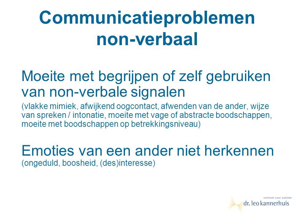 Communicatieproblemen non-verbaal Moeite met begrijpen of zelf gebruiken van non-verbale signalen (vlakke mimiek, afwijkend oogcontact, afwenden van d