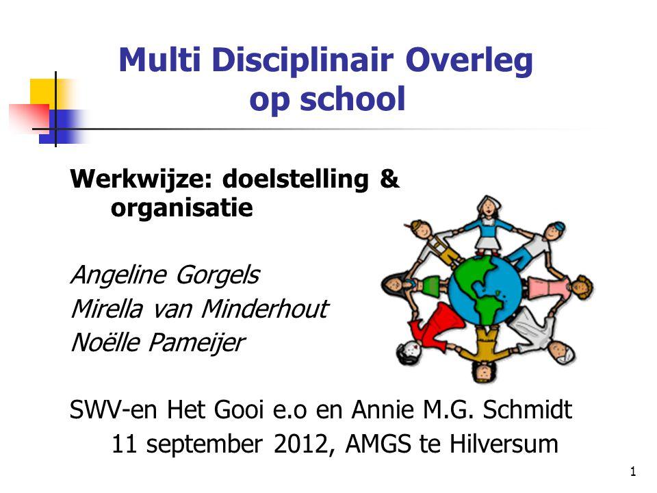 1 Multi Disciplinair Overleg op school Werkwijze: doelstelling & organisatie Angeline Gorgels Mirella van Minderhout Noëlle Pameijer SWV-en Het Gooi e
